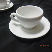 Apilco Demitasse Espresso Cup Bistro Cafe White  Porcelaine French  SET OF 5
