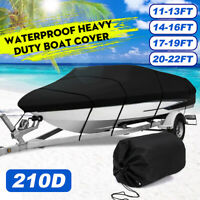 Waterproof Heavy Duty Boat Cover Trailerable Fishing Ski Bass V Hull Runabouts
