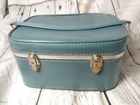 Vintage Retro Blue Sears Featherlite Suitcase Luggage Train Case