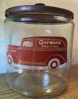 VTG GALLON GLASS GORDON'S FOODS SNACKS JAR STORE DISPLAY TOM'S LANCE METAL LID