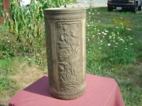 Antique Weller? Pottery- Four Panels Of Poppies Bule Glaze Inside Umbrella Stand