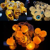 10 LED HALLOWEEN STRING LIGHTS: Skull Pumpkin Eyeballs Party Decoration