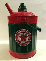 TEXACO Vintage GAS Kerosene CAN Station Oil Co Sign 1 Gallon Spout 2 LIDS USA