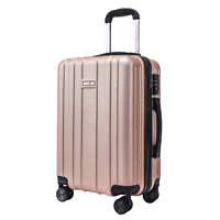 CarryOne 20in Carry on Luggage Suitcase Built in TSA Lock Spinner Wheels Side