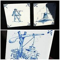 3 DELFT TILES Beautiful Old Blue amp; White Hunter Country Well Wind Mill