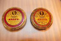 2 Vintage graphic old Rawleigh#x27;s Antiseptic Salve tin 5 Oz some wear Chapin SC