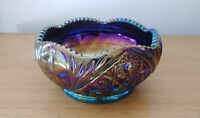 Iridescent glass bowl embossed mostly gold purple blue approx 7 3 4quot;w x 4quot;h