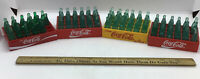 Vintage COCA COLA Miniature Light Green Bottles Lot Of 4 Crates YELLOW amp; Red