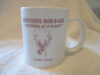 Vintage Brothers Bar B Que Catering at its Best Llano TX Coffee Cup Mug 1970#x27;s