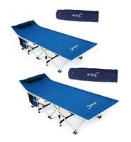 Folding Camping Cot Sleeping Bed Tent Cot with Pillow Carry Set of 2 Navy