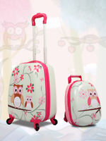 """2Pc Kids Luggage Set with Spinner Wheels 12""""amp;16"""" Owl Pattern Gift For Children"""