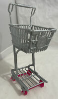 Barbie Mattel shopping cart grocery store buggy trolley gray pink wheels