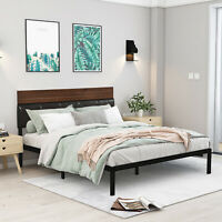 Full Queen Size Platform Bed Frame w Wooden PU Leather Headboard Rustic Brown