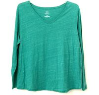 Kohls Women#x27;s EVRI Everyday Tee L S Super Soft Speckled Green Top Size 2X