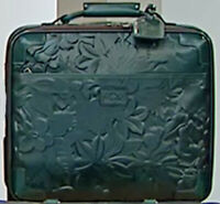 Patricia Nash VELINO 16quot; Wheeled LEATHER Trolley Bag Teal Green $399.00