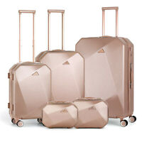Set of 5 Pcs Travel Spinner Luggage Set ABS Trolley Carry On Suitcase,Rose Gold