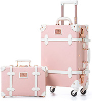 Unitravel Vintage Suitcase Set 20 inch PU Leather Spinner Luggage with 12 inch T