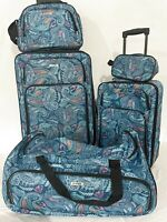$300 TAG Ridgefield Red 5 PC Luggage Set Expandable Suitcase Lightweight Paisley
