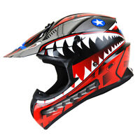 New Adult DOT Motocross Helmet MX BMX ATV Dirt Bike Storm Shark Red S M L XL