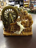 c1960 McCoy Pottery Spinning Wheel and Dog Cat Planter