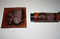 Hand Made Custom Leather Native American Indian w Head Dress Grip Cover Set New