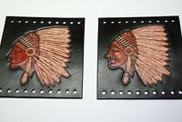 Custom Leather Native American Indian w Head Dress Grip Cover Black Set New