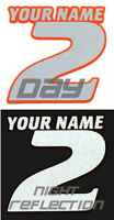 CUSTOM REFLECTIVE 2 COLOR NAMED MOTORCYCLE MX NUMBER PLATE DECALS SUPERCROSS ATV
