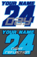 REFLECTIVE 2 COLOR NAMED MOTORCYCLE MX NUMBER PLATE DECALS MOTOCROSS GO KART ATV