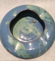 Williamsburg (VA) Pottery Bowl ASHTRAY - vintage Virginia art Handmade Blue