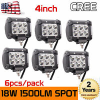 6X 4'' Inch 18W CREE Pods Led Work Light Off Road 4WD ATV Boat SUV UTE Ford Jeep
