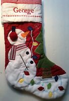 POTTERY BARN KIDS CHRISTMAS WOODLAND Snowman Stocking *GEORGE* New RED