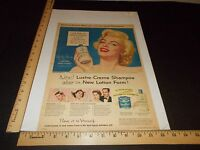 Rare Original VTG 1953 Marilyn Monroe Lustre-Cream Shampoo Advertising Art Print