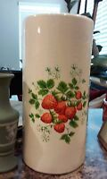 Haeger Pottery USA ~ Cylinder Planter/Vase White/Strawberries ~ Rare Pattern