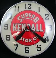 Vintage 1940-50s Super B Kendall Motor Oil Advertising Light Up Clock WORKS RARE