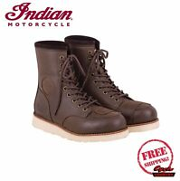 GENUINE INDIAN MOTORCYCLE MEN'S CLASSIC MOC BOOTS BROWN VIBRAM NEW SCOUT CHIEF