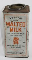 Antique Vintage Borden's Meadow Brand Malted Milk Advertising Tin Can