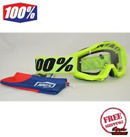 100% PERCENT BRAND ACCURI OTG OVER THE GLASSES GOGGLES MX ATV MOTOCROSS FLUO NEW
