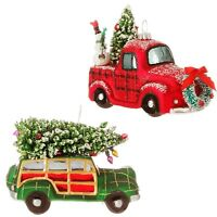 Raz SET OF 2 Glass Woody & Truck Ornaments 4