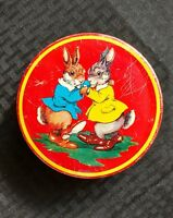 Wilkins Red Boy Toffee Vintage Candy Tin  Bunny Made In England 1940s Easter