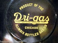 Antique Metal Dri-Gas Porcelain Sign Display Chicago IL Cooking Gas Advertisemen