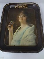 AUTHENTIC COKE COCA COLA 1923 GIRL ADVERTISING SERVING TIN TRAY 459 L
