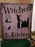Kitchen Witch Farmhouse Halloween Reclaimed Wood Sign