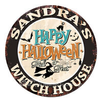CHWH-0016 SANDRA'S WITCH HOUSE Tin Sign Halloween Decor Funny Gift