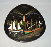 Beautiful Longwy Plate Plaque - Port de Peche - France - Lighthouse - Sailing