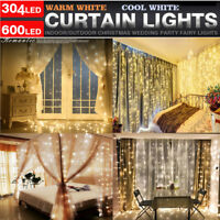 100/304 LED Fairy String Hanging Icicle Snowing Curtain Light Outdoor Xmas Party