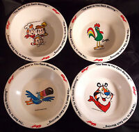 Cereal Bowls KELLOGGS set of 4, 1995, Tony Tiger, Toucan Fruit Loops, Rice Kris