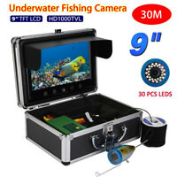 Pro 9inch 30m Fish Finder Underwater LED Fishing Camera Color HD Monitor 1000TVL