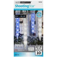 Gemmy Lightshow SHOOTING STAR Icy Blue & White LED Icicle Lights - Set of 10