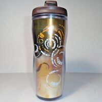 2009 Starbucks Copper Gold Ombre Travel Mug Coffee Cup Tumbler Thermos 12 oz.