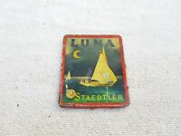 1940s Vintage Old Original Luna Staedtler Color Pencils Adv. Tin Box Germany